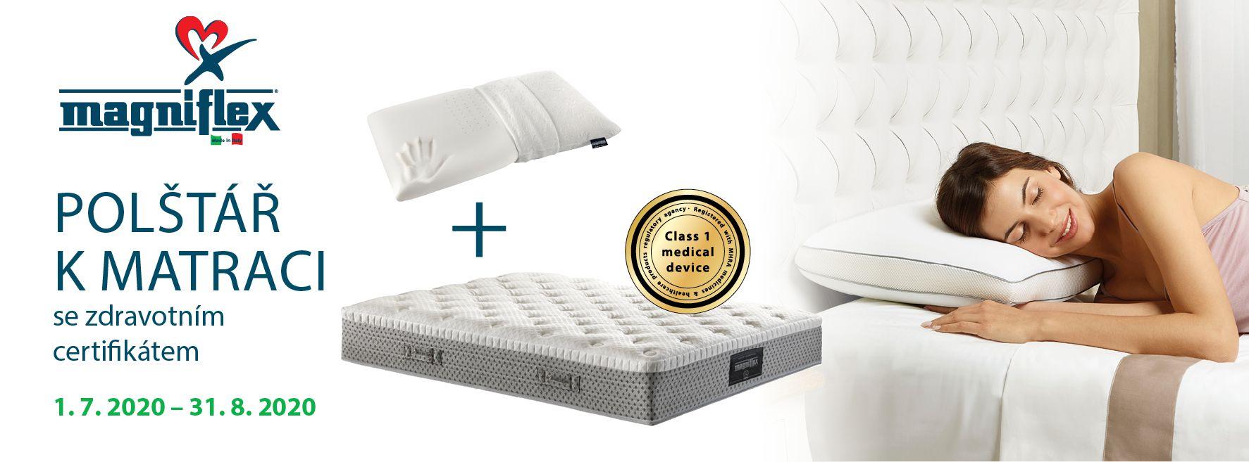 Magniflex - akce Polštář k matraci se zdravotním certifikátem červenec, srpen